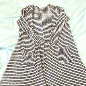 LulaRoe Sarah Duster Cardigan blue &white striped